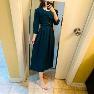 Vintage Cottagecore Embroidered Emerald Vest Dress